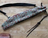 Native Flute Whistle Case, Shakuhachi Drumstick Bag Pennywhistle Pipe, Medicine Pouch  - Plush Lined 22 x 4.5