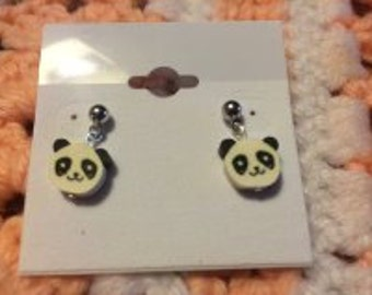 Panda Post Earrings Polymer/Fimo