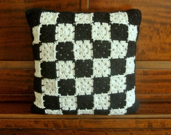 "12"" x 12"" Black and White Granny Square Pillow"