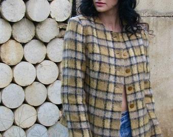 Vintage 1980s CHECKERED Fuzzy Collarless Blazer Women's Jacket Structured Secretary
