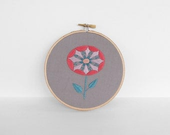 Turquoise, Coral, Lavender and Gray Embroidered Flower with Teal Leaves - Abstract Botanical Embroidery Hoop Art - 5 inch Hoop Fiber Art
