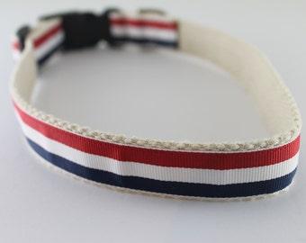 Hemp dog collar - Red, White and Blue Stripes