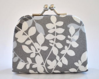 Packed Vines in Gray - Tiny Kiss lock Coin Purse/Jewelry holder