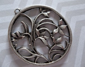 Large Round Flowering Vine Silver Pendants or Earring Findings - Ethnic Style - Oxidized & Antiqued Silver Sterling Plated Pewter - Qty 2