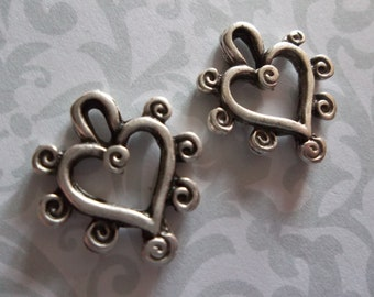 Knobby Heart Charms Pendants or Earring Findings - Artisan Handmade - Oxidized Silver Plated Pewter - Qty 4