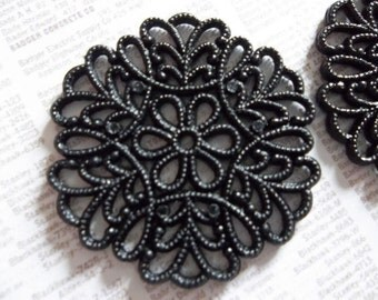 30mm Round Black Lucite Lacy Filigree Connector or Pendant - Qty 6