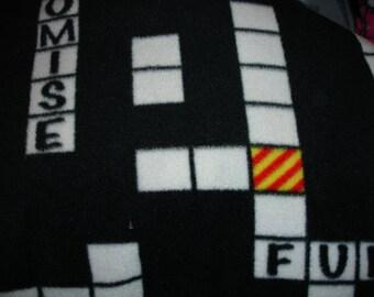 Crossword Puzzle Fleece Lap Throw