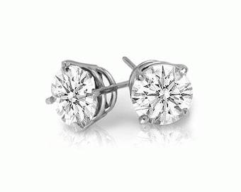 white diamond stud earrings 14k gold