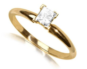 princess 14K yellow gold diamond  ring
