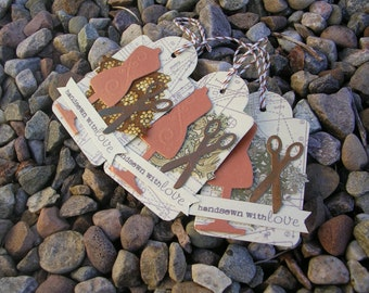 Unique 'Handsewn with love' Tags x 3; Original Design Hang Tags; Gift Tags;