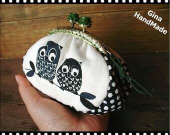 Forest owl coin purse / coin bag / Metal frame purse / Coin Wallet / Pouch / Kiss lock frame bag -GinaHandMade