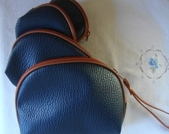 VINTAGE NAVY BROWN Faux Leather 4 Piece Travel Set Cosmetic Jewelry Organizer Coin Jewelry Cosmetic Nesting Travel Purse Pouch Bag Navy Blue