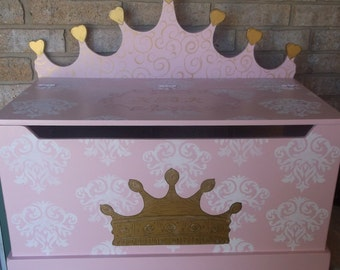 Furniture,  Princess CROWN, Toy Box, Toy Chest, Bench, Hope Chest, Toy Bin, Toy Storage, Custom, Kids and Baby, PinK and Green Kids