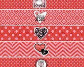 Printable DIY Christian Religious Valentine Water Bottle Labels - INSTANT DOWNLOAD