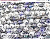 ON SALE Silver and Blue 8mm Fire Polished
