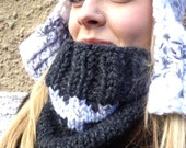 Chunky Cowl, Cowl, Ribbed Cowl, Over-sized Cowl, Chunky, Rib, Knit Cowl, Knit, Unisex, Birdy27, Fair Isle, Contrat Color