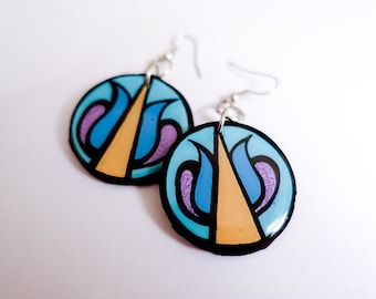 Modern, Small Deconstructed Turkish Flower Blossom Earrings in Turquoise, Lavender and Mustard Yellow