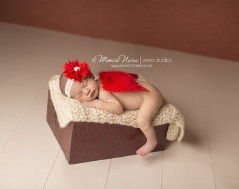 Red Feather Wings, wings and headband set, newborn photo prop, photography prop, angel wings, angel baby