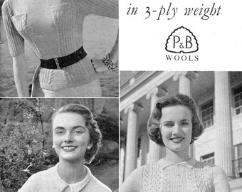 """Three Stunning 1950s Blouses Jumpers 3 Sizes 34"""" to 38"""" Patons 741 Vintage Knitting Pattern"""