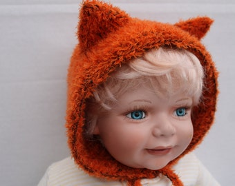 Knit Foxy Bonnet. 6 months. Hand Knit Baby Fox Bonnet. Knit Fox Baby Hat