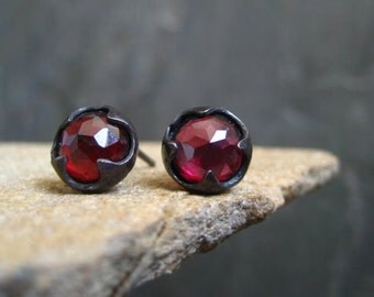 Garnet studs, rose cut studs, genuine garnet, garnet cabochon, red earrings, gemstone posts, thorn studs, faceted garnet, all handmade