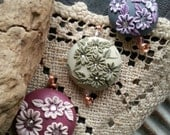 Trio of Artisan Polymer Clay Focal Beads - Floral Beads - Handcrafted - Cottage Chic - Embroidered  - Moobie Grace Designs