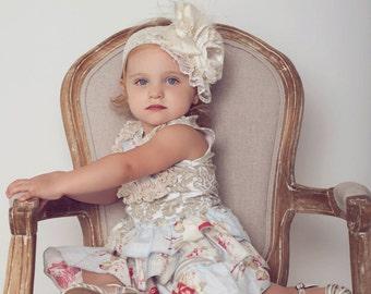 Vintage Cream Satin, Lace, and Silk Headbabd-Baby Girl Headbabf-M2M Persnickety, Gigglemoon, Dollcake, or Mustard Pie Outfits-Newborn Prop