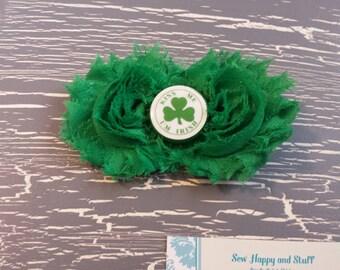 Green and White Shabby Bow, Green Shabby, Kiss Me I'm Irish, St Patty's Day Shabby Bow