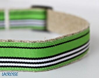Green and Navy Stripe Dog Collar, Preppy Dog Collar, Adjustable Dog Collar