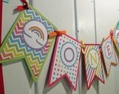 NEW Rainbow Collection ONE Banner: Pennant Happy Birthday Bright High Chair Banner Smash Photo Shoot First Birthday High Chair Decor