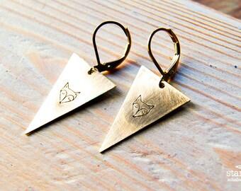 FOX  triangle earrings // triangle raw brass hook earrings // hand stamped jewelry