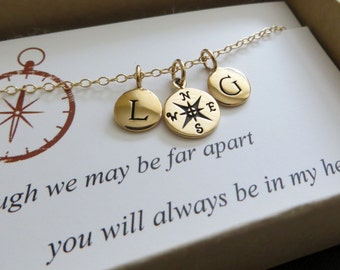 Best friends gift, compass two initial necklace, personalized friendship jewelry, going away gift, long distance relationship, bff
