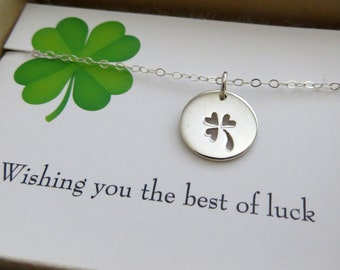 best friend gift, Openwork Clover necklace, Shamrock, Lucky necklace & card, prosperity, good luck four leaf clover disk