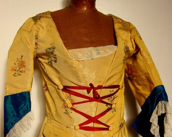 18th century colonial historical pure silk lampas jacket golden yellow antique lace marie antoinette pierrot