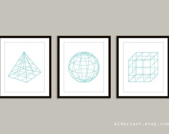 Pyramid Sphere Cube Geometric Art Prints  Set of 3 - Modern Home Decor - Aqua Turquoise Blue and White - 3D Shapes