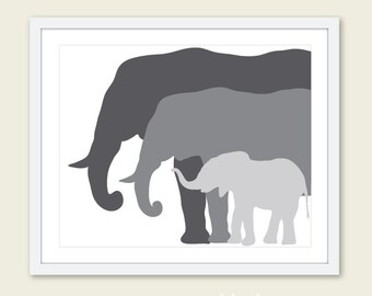 Elephant  Art Print. Nursery Elephant Art Print. Grey Elephant Family. Mother Father and Baby Elephant Print.  Nursery Decor.