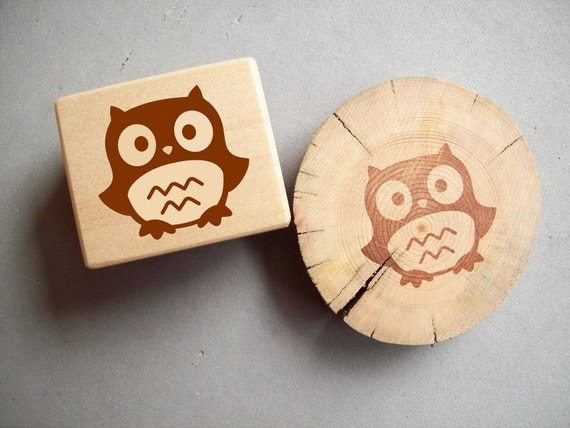 Owl Rubber Stamp - Forest Critter Woodland Animal Autumn