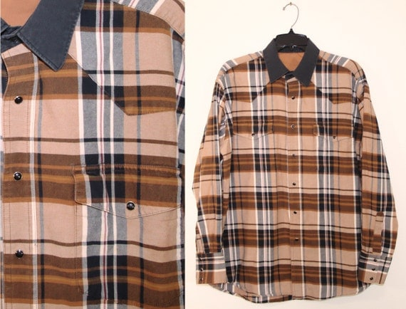 Vintage brown and black plaid pearl snap oxford shirt hipster for Brown and black plaid shirt