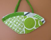 Lu Lu 1332E  Bright Green and White Fan Shaped Purse, Up Cycled Fabric