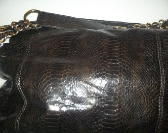 1990 brownsnake skin tote purse with 14 inches strap
