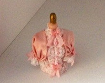 1-12th Scale miniature silk blouse pink.