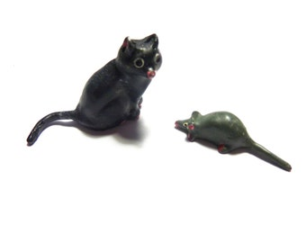 TOY CATS, kittens, mice . . . cast animals for terrariums, dioramas, etc.
