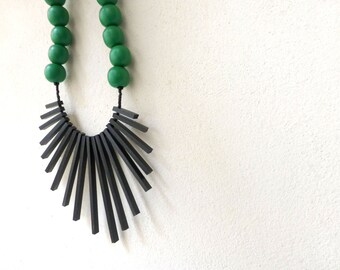 black sticks & green beads necklace , tribal geometric contemporary jewelry