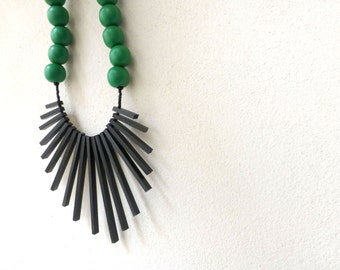 black sticks & green beads necklace - tribal geometric contemporary jewelry