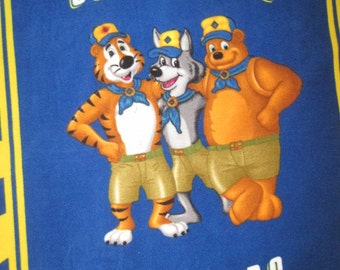 Bear, Tiger, Wolf Cub Scout Characters with Blue Fleece Blanket - This is the LAST ONE I have