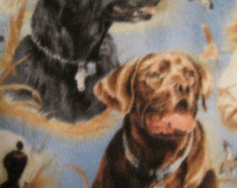 Hunting Sport Dogs on Blue with Brown Handmade Fleece Blanket - Ready to Ship Now