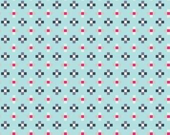 Light Blue Pink and Navy Geometric Cross Cotton Fabric, Skopelos by Katarina Roccella for Art Gallery Fabrics, Crosses in Galazio, 1 Yard