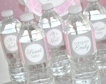 Girls Baby Shower Water Bottle Labels - It's A Girl Baby Shower Decorations - Pink and Gray - Set of 10
