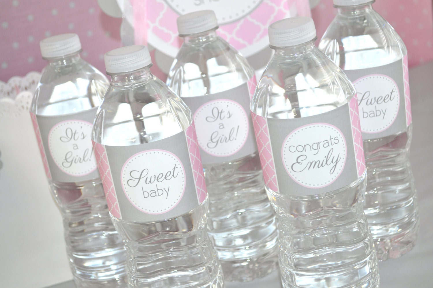 girls baby shower water bottle labels it 39 s a girl baby