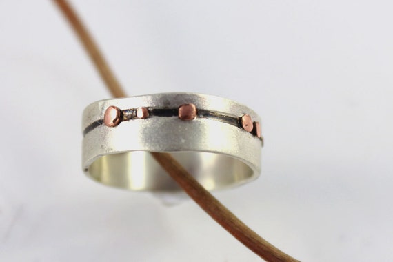 Unique silver and copper wedding ring, modern silver band for men or women,copper dots band